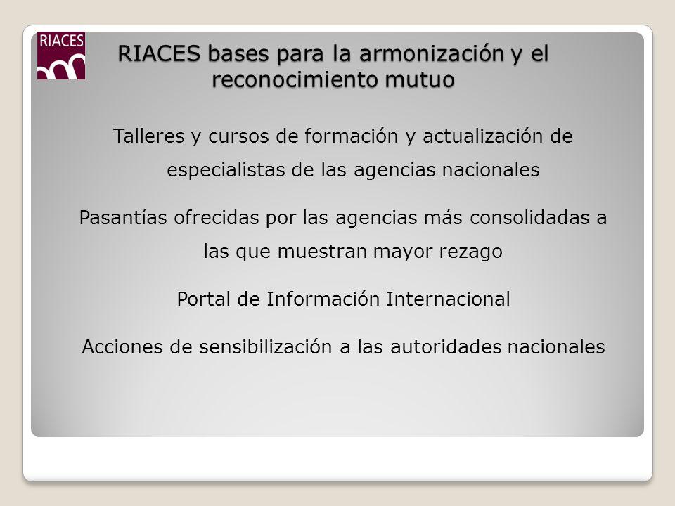 RIACES bases para la armonización y el reconocimiento mutuo
