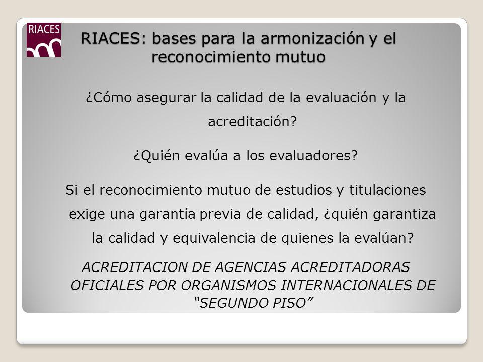 RIACES: bases para la armonización y el reconocimiento mutuo