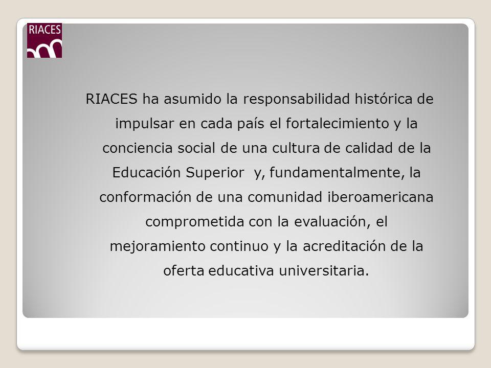 RIACES ha asumido la responsabilidad histórica de impulsar en cada país el fortalecimiento y la conciencia social de una cultura de calidad de la Educación Superior y, fundamentalmente, la conformación de una comunidad iberoamericana comprometida con la evaluación, el mejoramiento continuo y la acreditación de la oferta educativa universitaria.