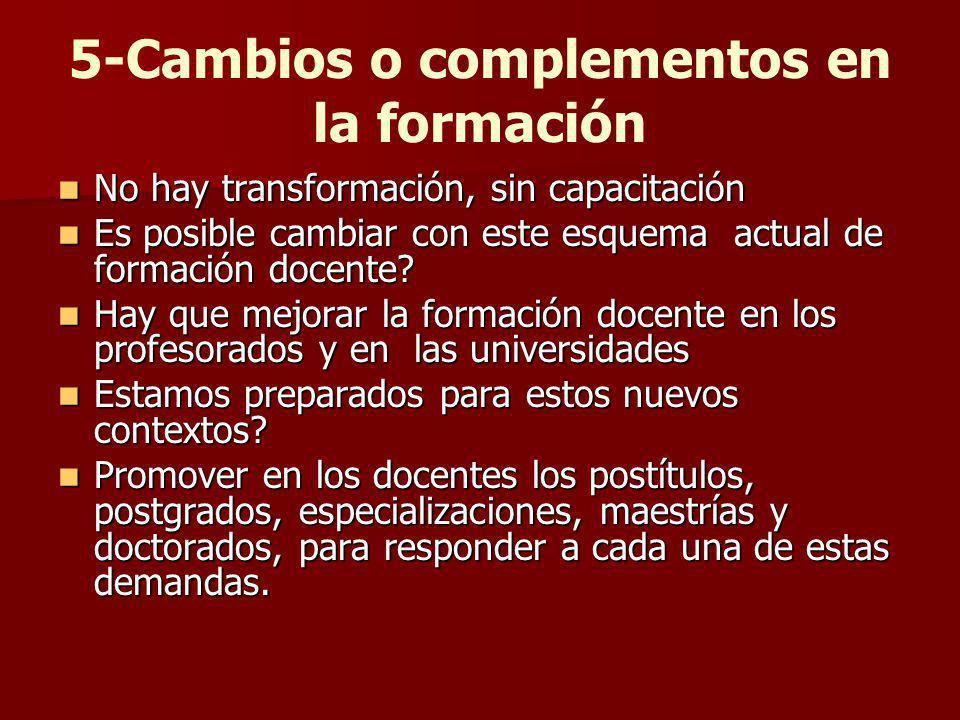5-Cambios o complementos en la formación