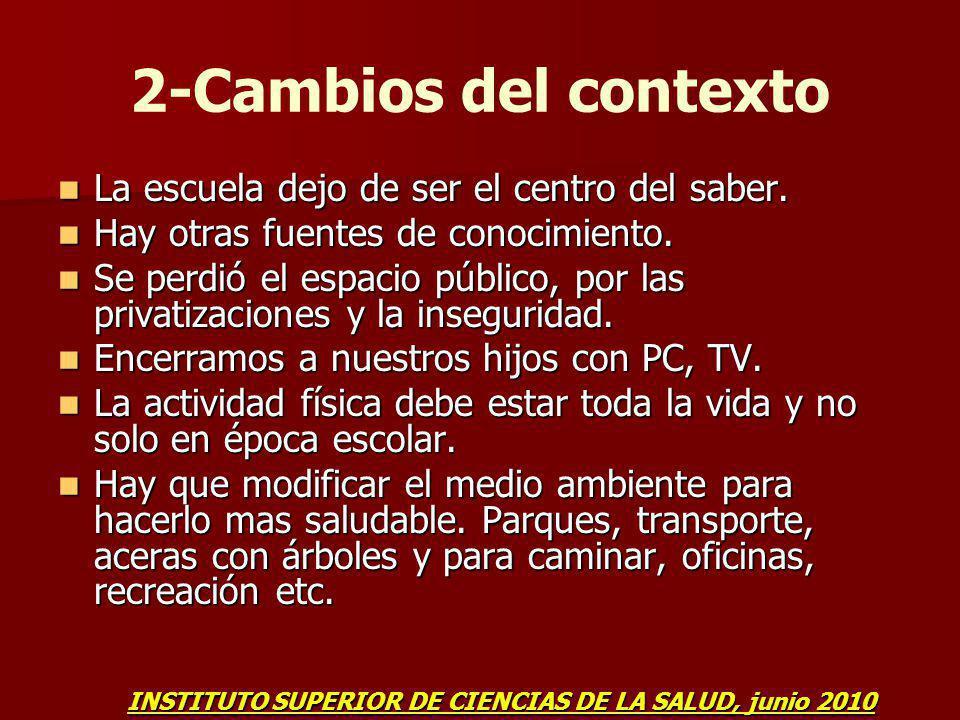 2-Cambios del contexto La escuela dejo de ser el centro del saber.