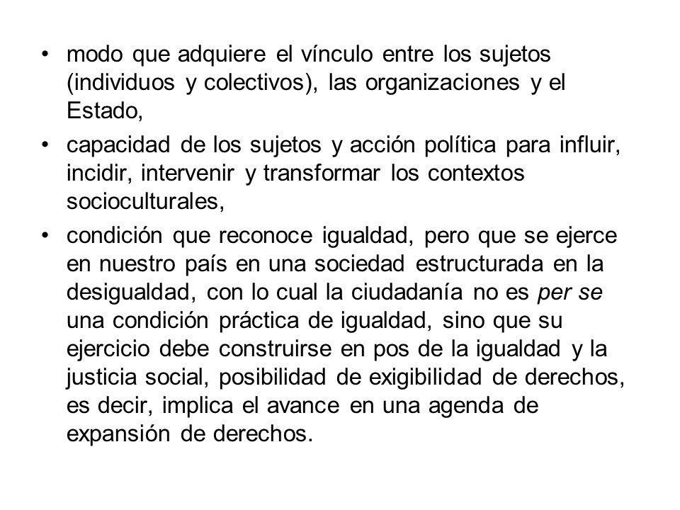 modo que adquiere el vínculo entre los sujetos (individuos y colectivos), las organizaciones y el Estado,