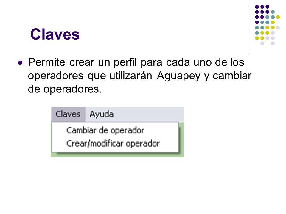 Claves Permite crear un perfil para cada uno de los operadores que utilizarán Aguapey y cambiar de operadores.