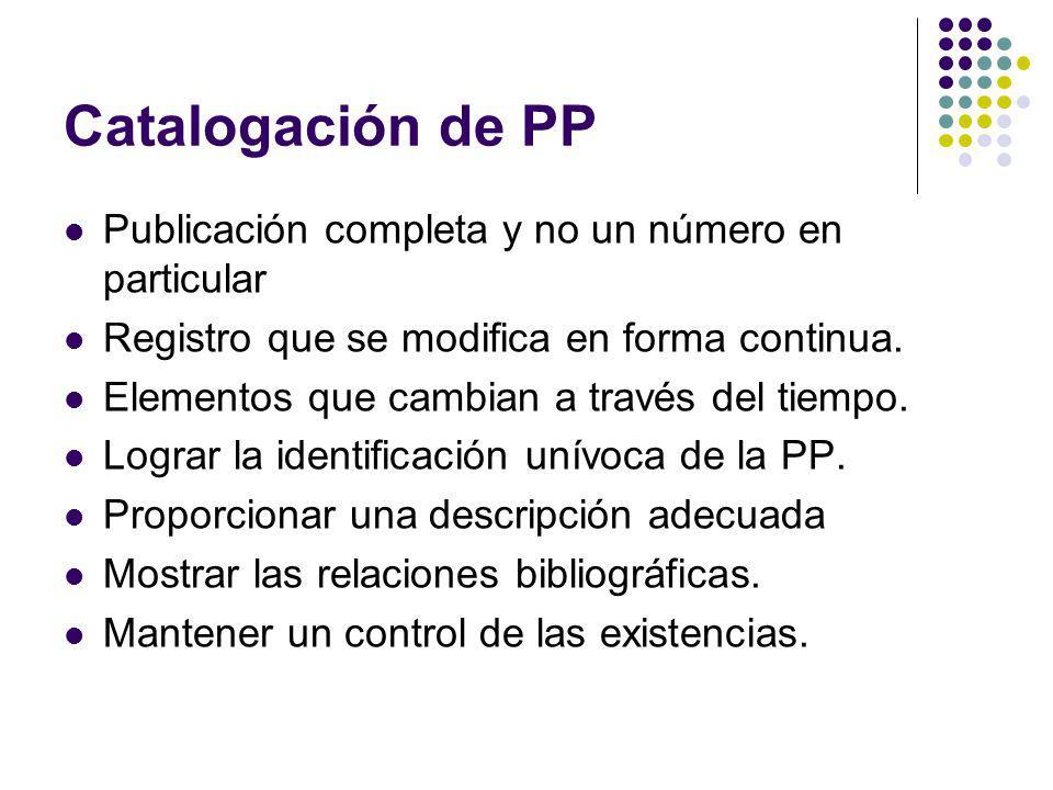 Catalogación de PP Publicación completa y no un número en particular