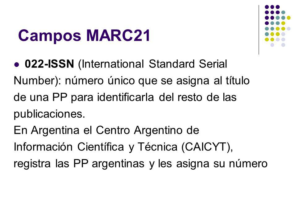 Campos MARC21 022-ISSN (International Standard Serial