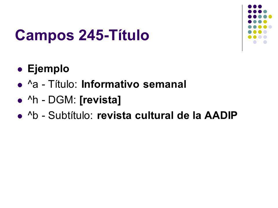Campos 245-Título Ejemplo ^a - Título: Informativo semanal