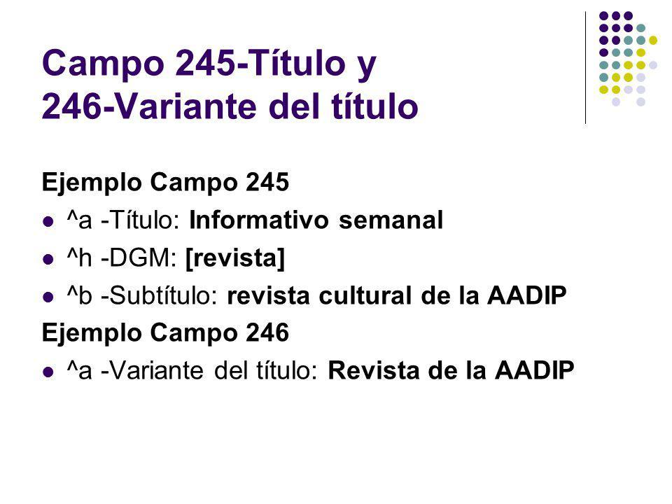 Campo 245-Título y 246-Variante del título