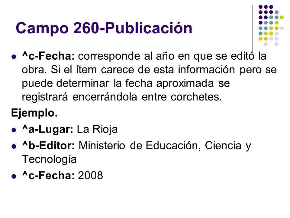 Campo 260-Publicación