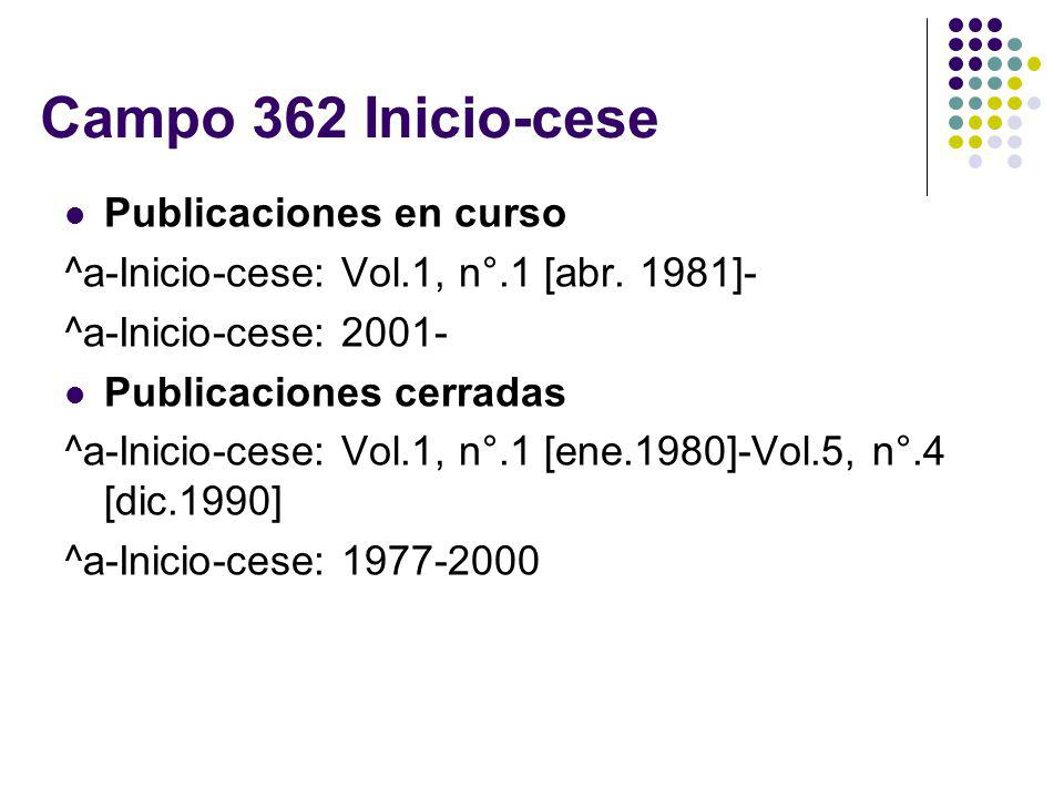 Campo 362 Inicio-cese Publicaciones en curso