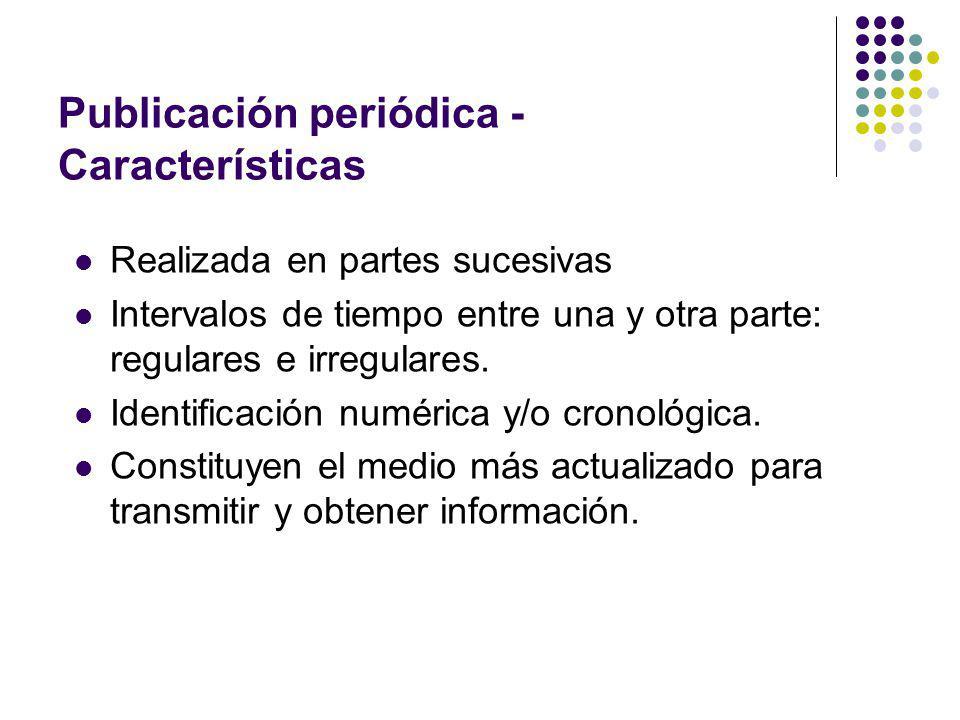 Publicación periódica - Características