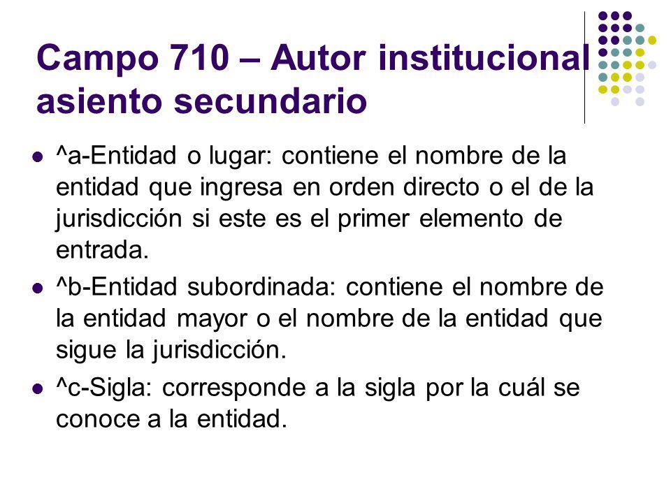 Campo 710 – Autor institucional asiento secundario