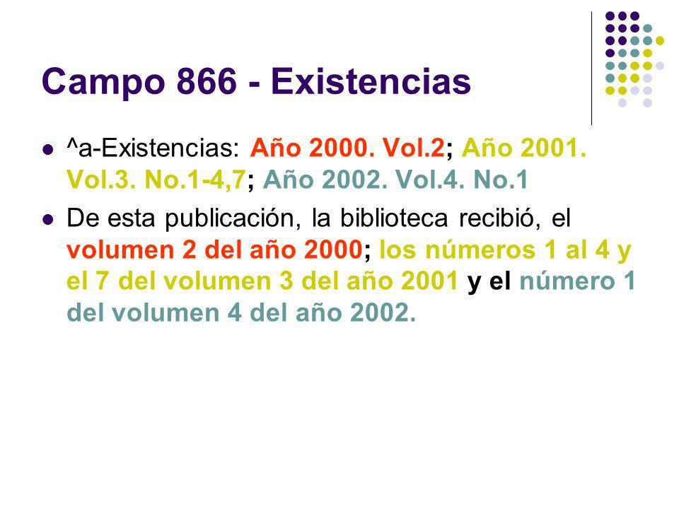 Campo 866 - Existencias ^a-Existencias: Año 2000. Vol.2; Año 2001. Vol.3. No.1-4,7; Año 2002. Vol.4. No.1.