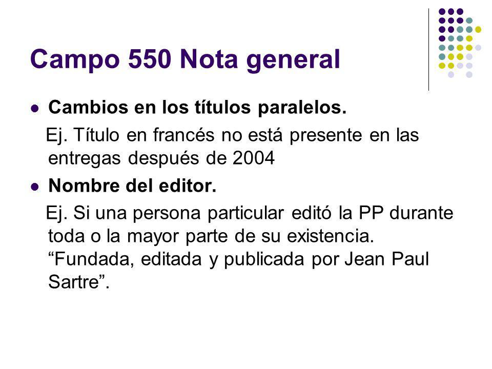 Campo 550 Nota general Cambios en los títulos paralelos.