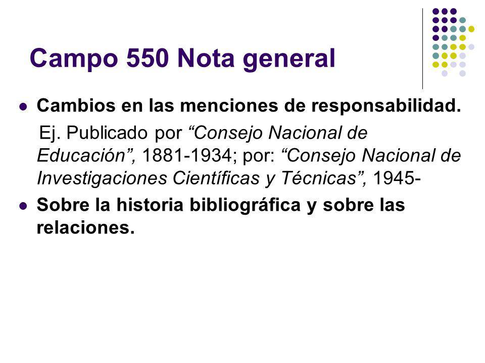 Campo 550 Nota general Cambios en las menciones de responsabilidad.