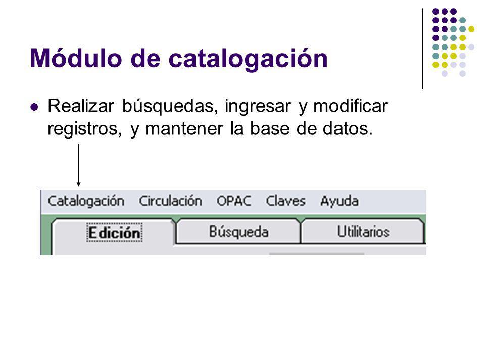 Módulo de catalogación