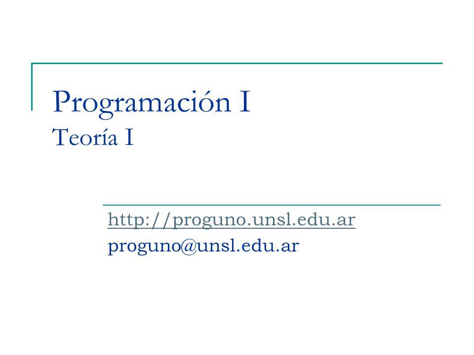 Programación I Teoría I