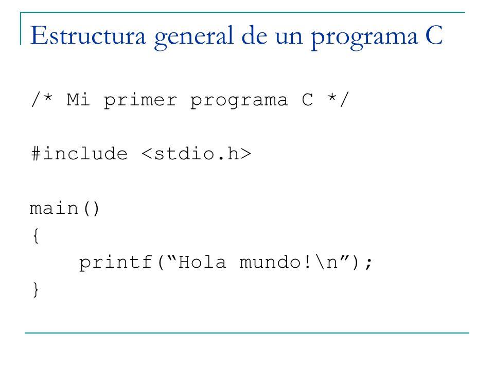 Estructura general de un programa C