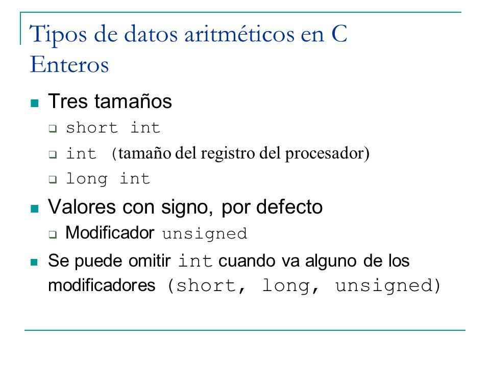 Tipos de datos aritméticos en C Enteros