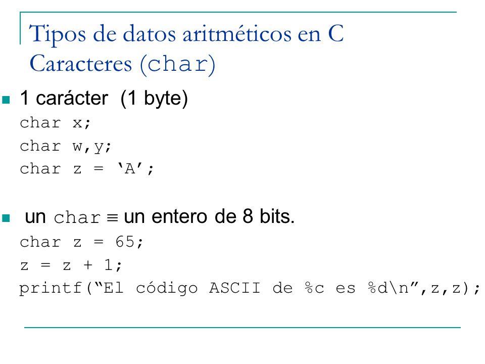 Tipos de datos aritméticos en C Caracteres (char)
