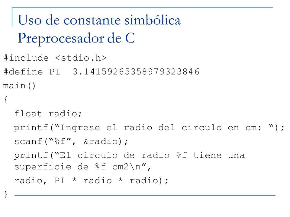 Uso de constante simbólica Preprocesador de C