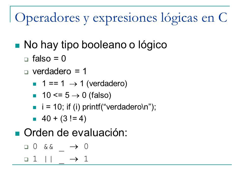 Operadores y expresiones lógicas en C