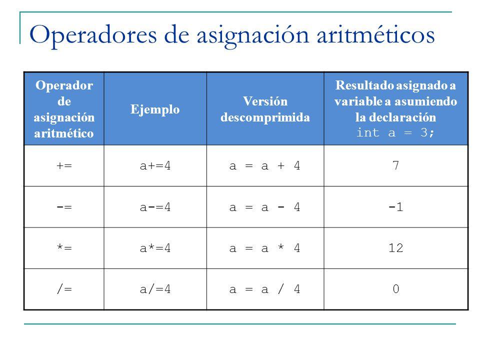 Operadores de asignación aritméticos