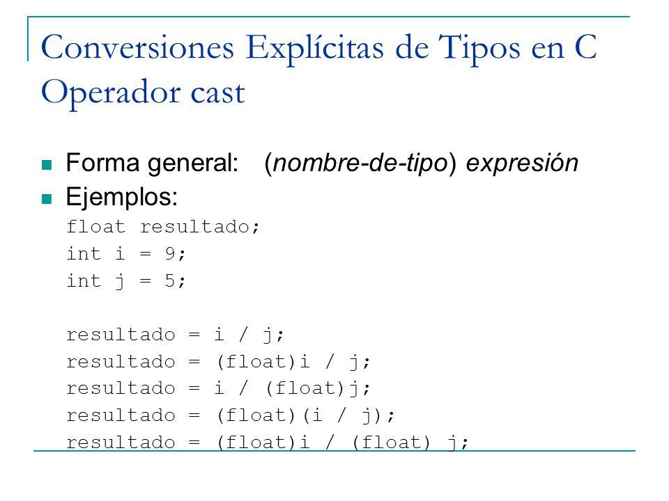 Conversiones Explícitas de Tipos en C Operador cast