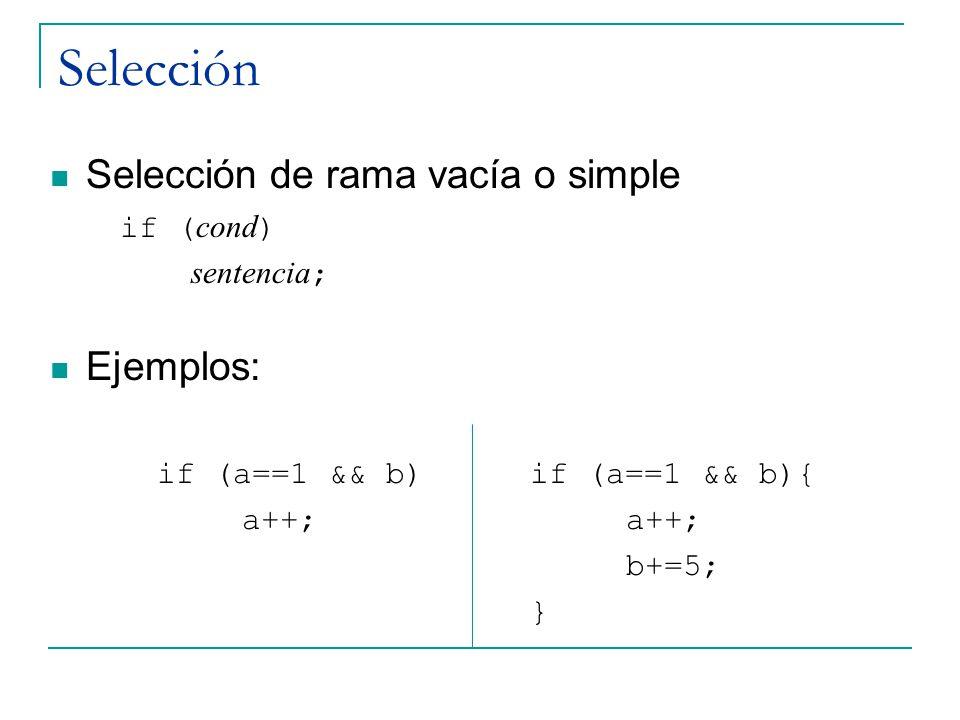 Selección Selección de rama vacía o simple Ejemplos: if (cond)