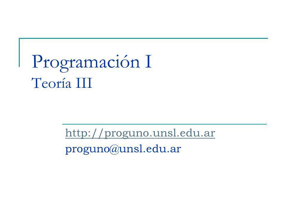 Programación I Teoría III