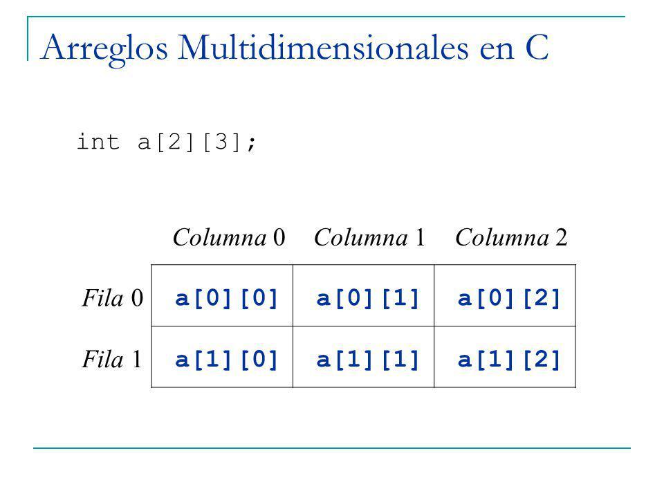 Arreglos Multidimensionales en C