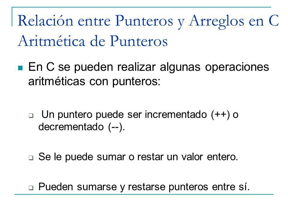 Relación entre Punteros y Arreglos en C Aritmética de Punteros
