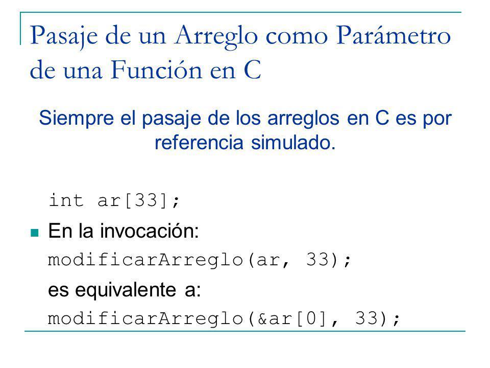Pasaje de un Arreglo como Parámetro de una Función en C