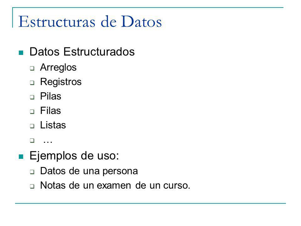 Estructuras de Datos Datos Estructurados Ejemplos de uso: Arreglos