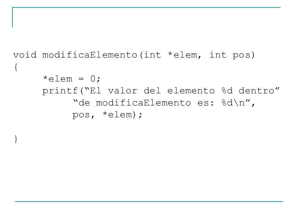 void modificaElemento(int *elem, int pos)