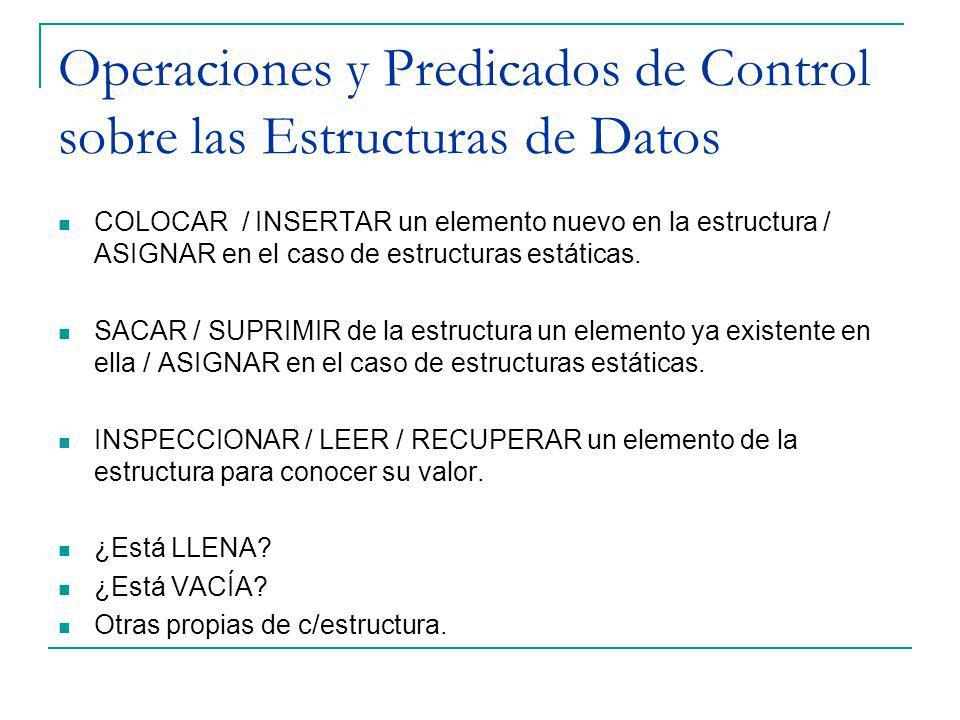 Operaciones y Predicados de Control sobre las Estructuras de Datos