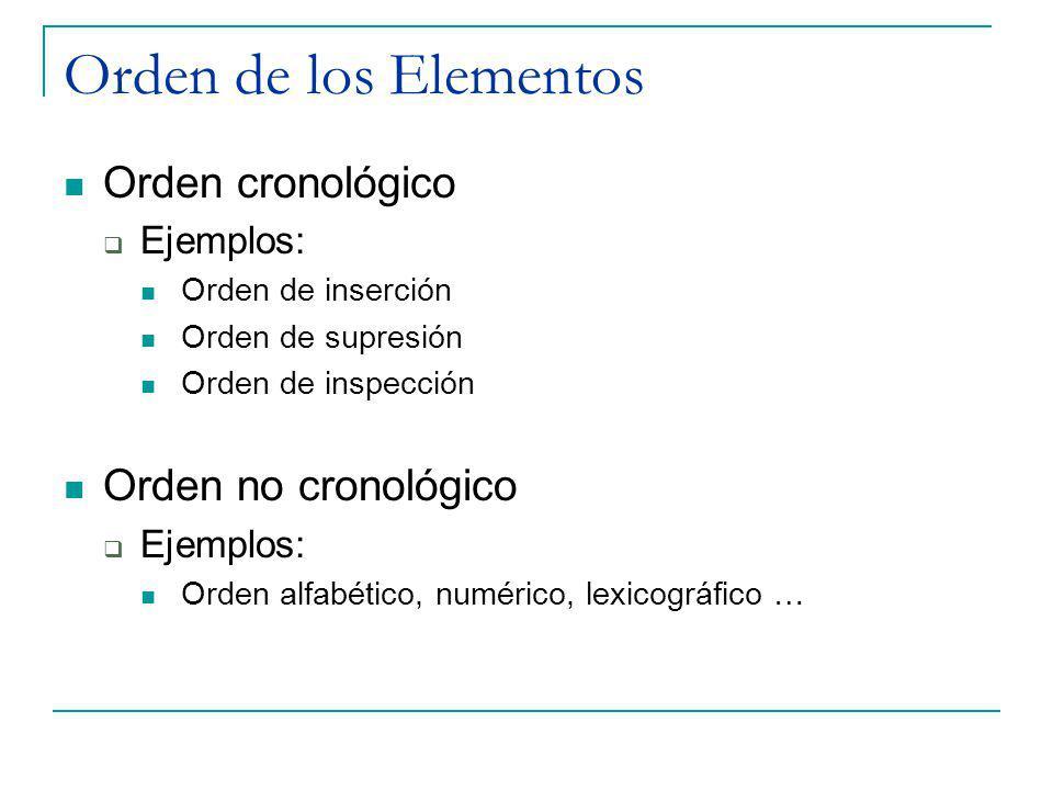 Orden de los Elementos Orden cronológico Orden no cronológico