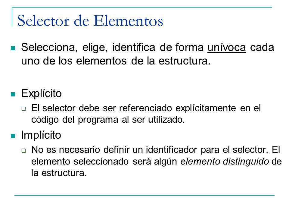 Selector de Elementos Selecciona, elige, identifica de forma unívoca cada uno de los elementos de la estructura.