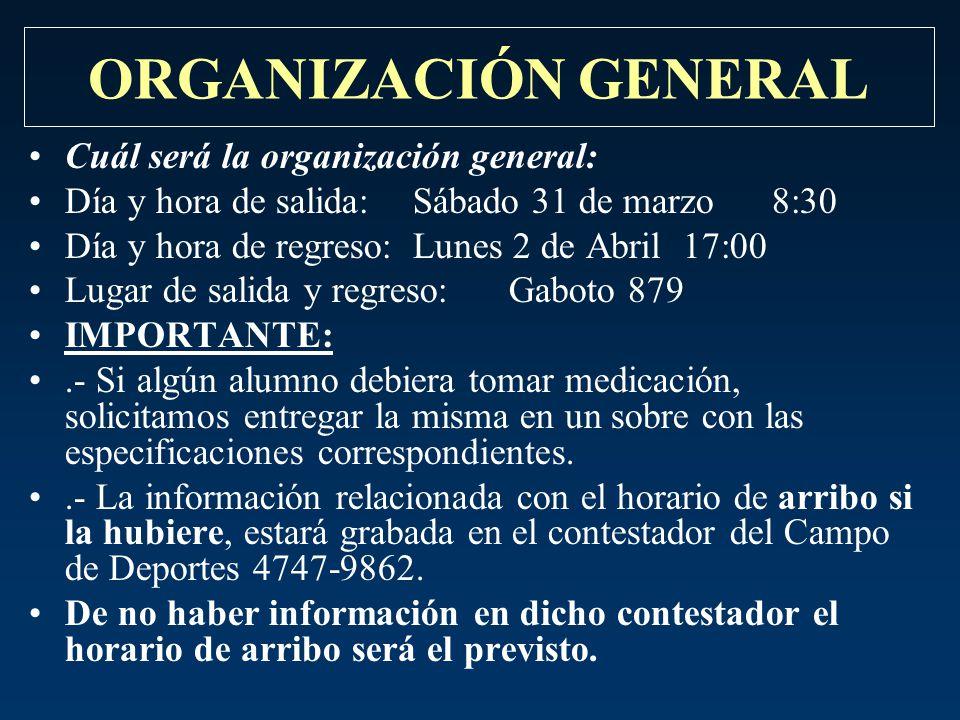 ORGANIZACIÓN GENERAL Cuál será la organización general: