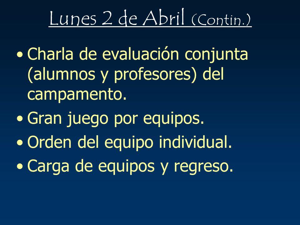 Lunes 2 de Abril (Contin.)