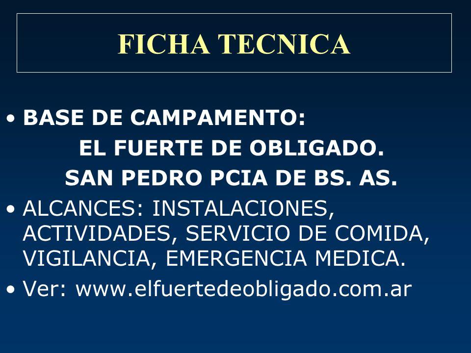 FICHA TECNICA BASE DE CAMPAMENTO: EL FUERTE DE OBLIGADO.