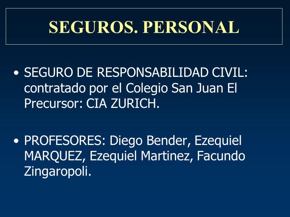 SEGUROS. PERSONAL SEGURO DE RESPONSABILIDAD CIVIL: contratado por el Colegio San Juan El Precursor: CIA ZURICH.