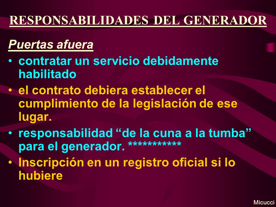 RESPONSABILIDADES DEL GENERADOR