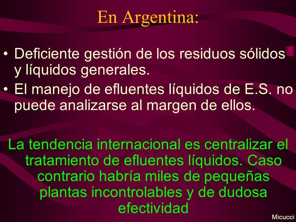 En Argentina: Deficiente gestión de los residuos sólidos y líquidos generales.