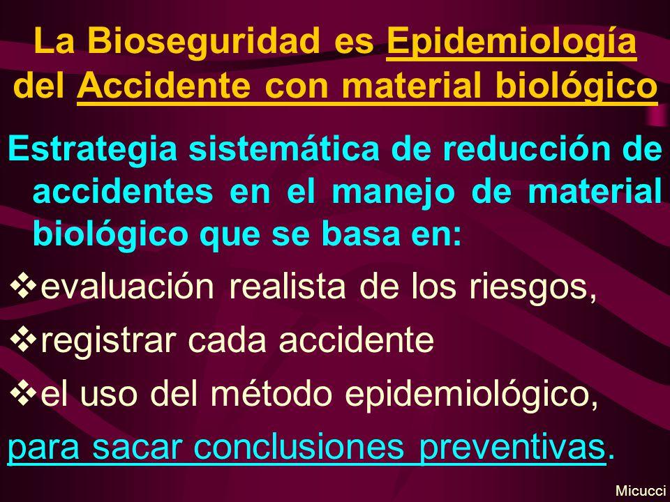La Bioseguridad es Epidemiología del Accidente con material biológico