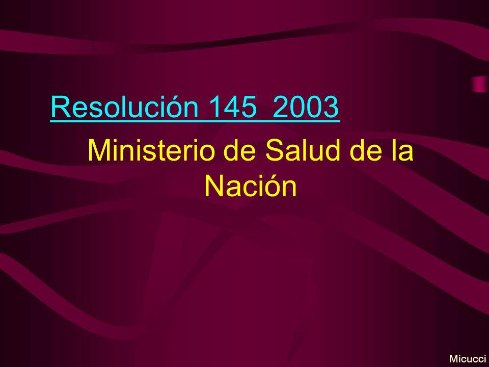 Resolución 145 2003 Ministerio de Salud de la Nación