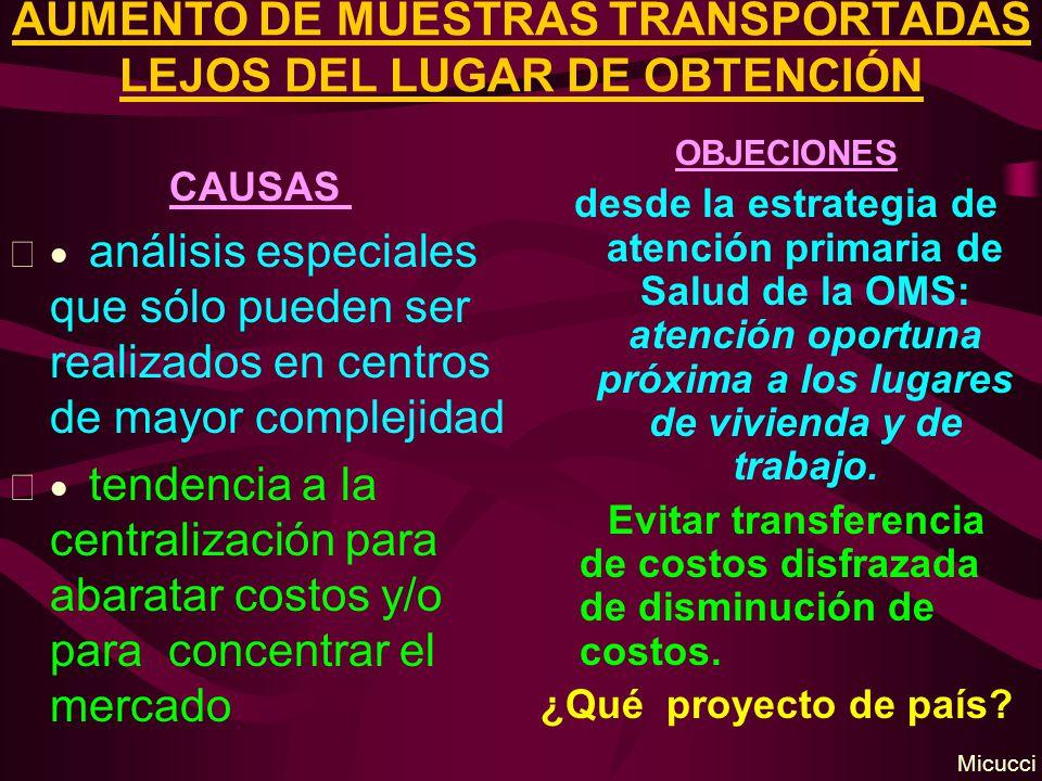 AUMENTO DE MUESTRAS TRANSPORTADAS LEJOS DEL LUGAR DE OBTENCIÓN