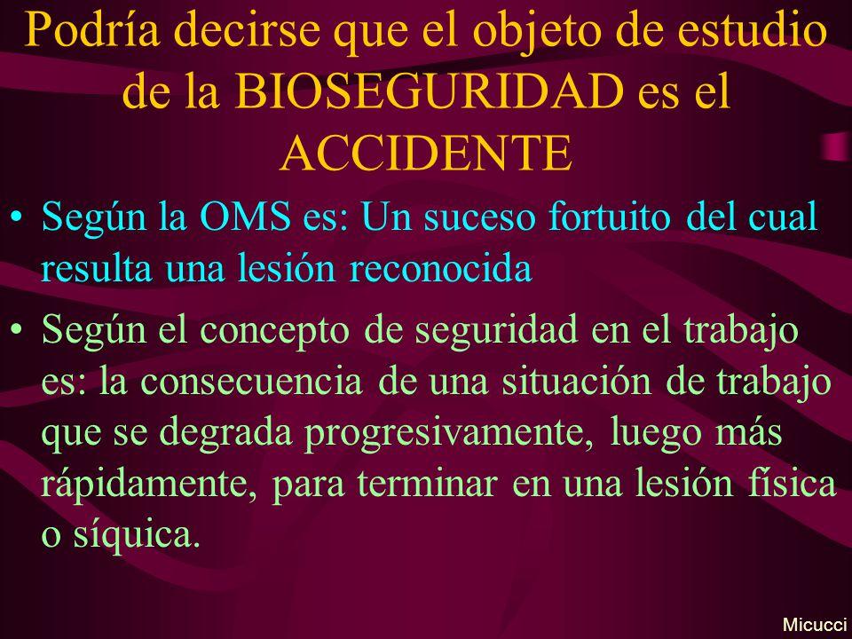 Podría decirse que el objeto de estudio de la BIOSEGURIDAD es el ACCIDENTE