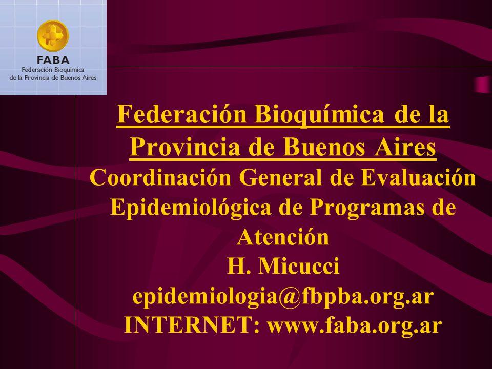 Federación Bioquímica de la Provincia de Buenos Aires Coordinación General de Evaluación Epidemiológica de Programas de Atención H.
