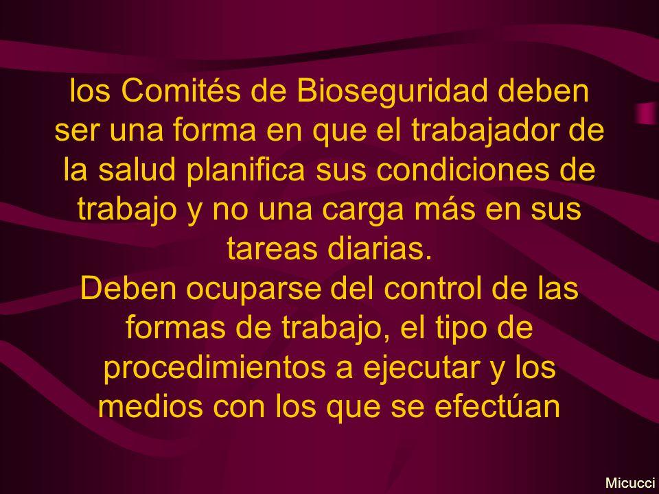 los Comités de Bioseguridad deben ser una forma en que el trabajador de la salud planifica sus condiciones de trabajo y no una carga más en sus tareas diarias. Deben ocuparse del control de las formas de trabajo, el tipo de procedimientos a ejecutar y los medios con los que se efectúan