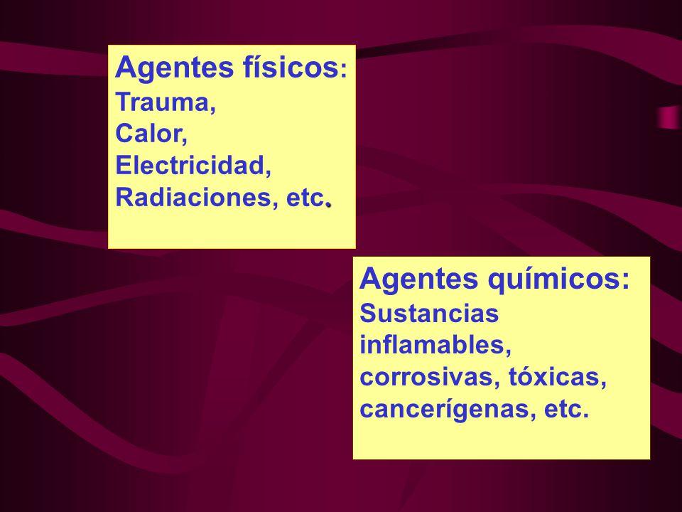 Agentes físicos: Agentes químicos: Trauma, Calor, Electricidad,